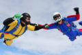 Two skydivers learn to skydive