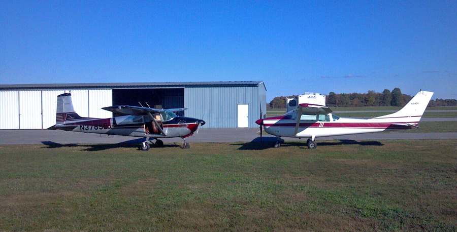 How to Start a Skydiving Business - Two skydiving airplanes at WNY Skydiving, Buffalo NY