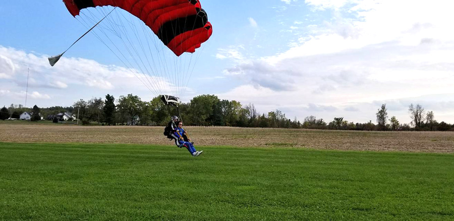Example of a PLF free landing after a skydive at WNY Skydiving