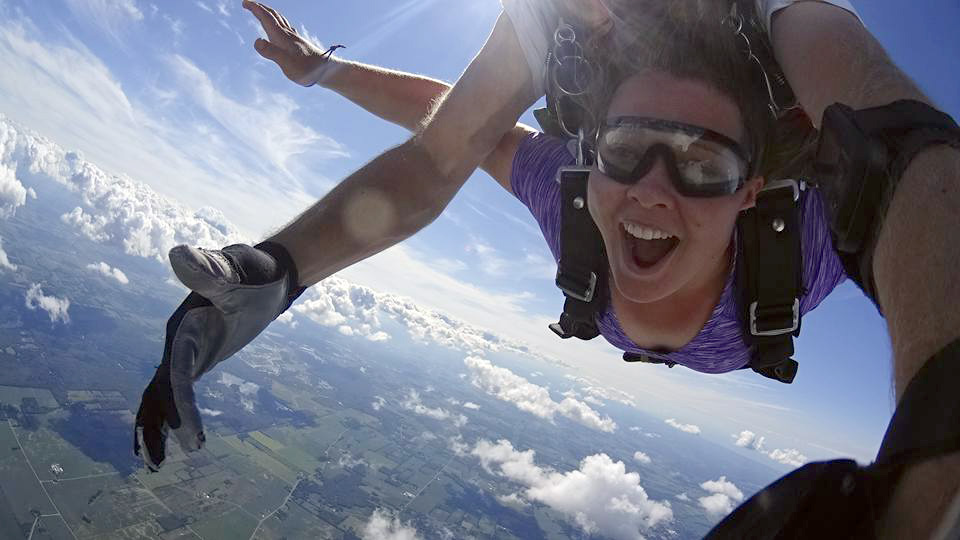 Skydiver overcoming her fears