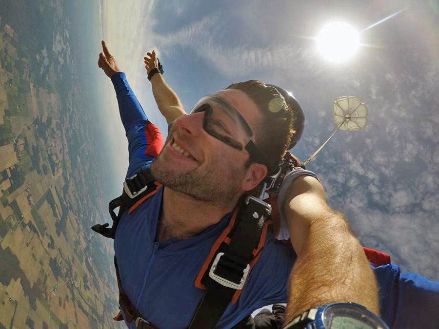 Happy skydiver enjoying the gift of skydiving