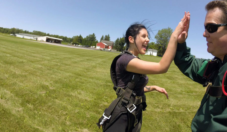 High five after a successful tandem skydive.