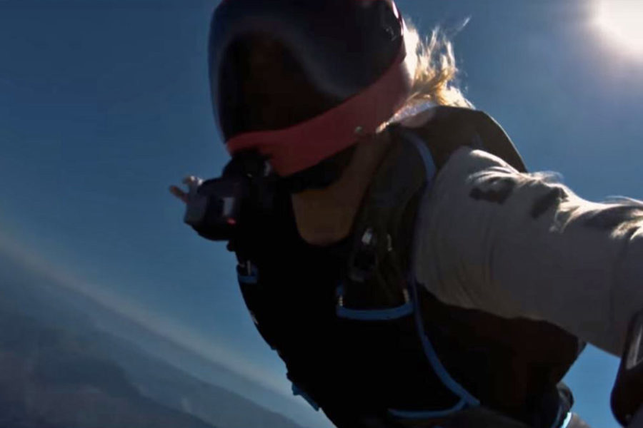 Extreme skydiving during a solar eclipse