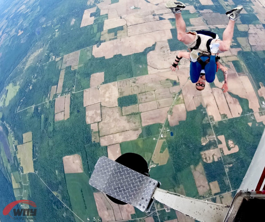 Tandem skydiving is the first step to begin to wingsuit.