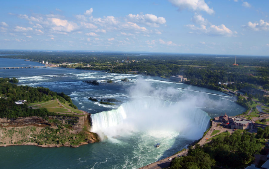 Niagara Falls skydiving will allow you to see the mists from the falls.