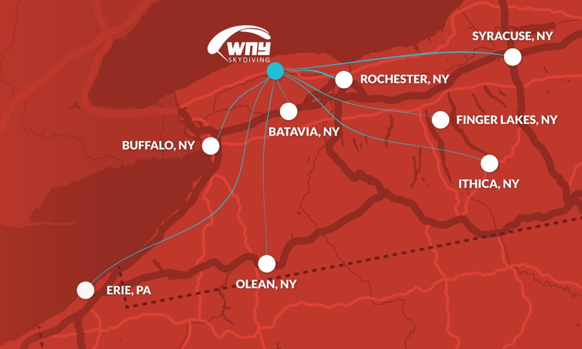 map of NY cities close to WNY Skydiving